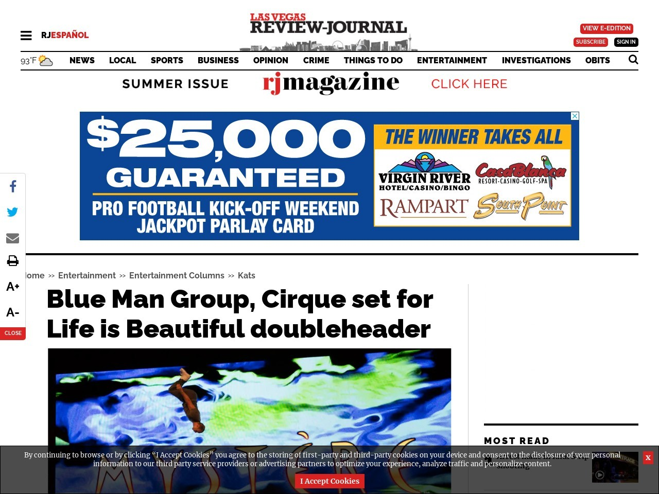 Blue Man Group, Cirque set for Life is Beautiful doubleheader