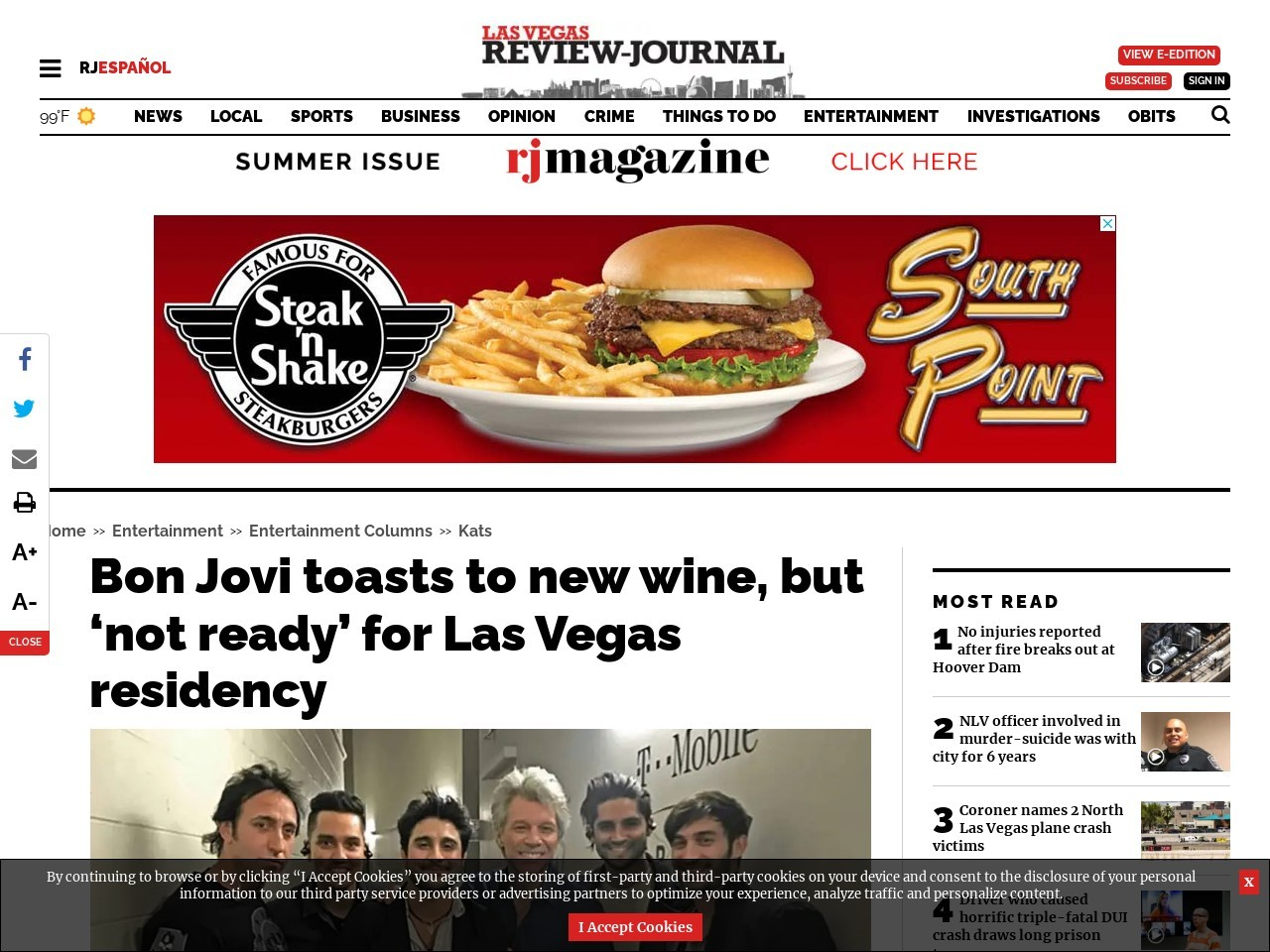 Bon Jovi toasts to new wine, but 'not ready' for Las Vegas residency