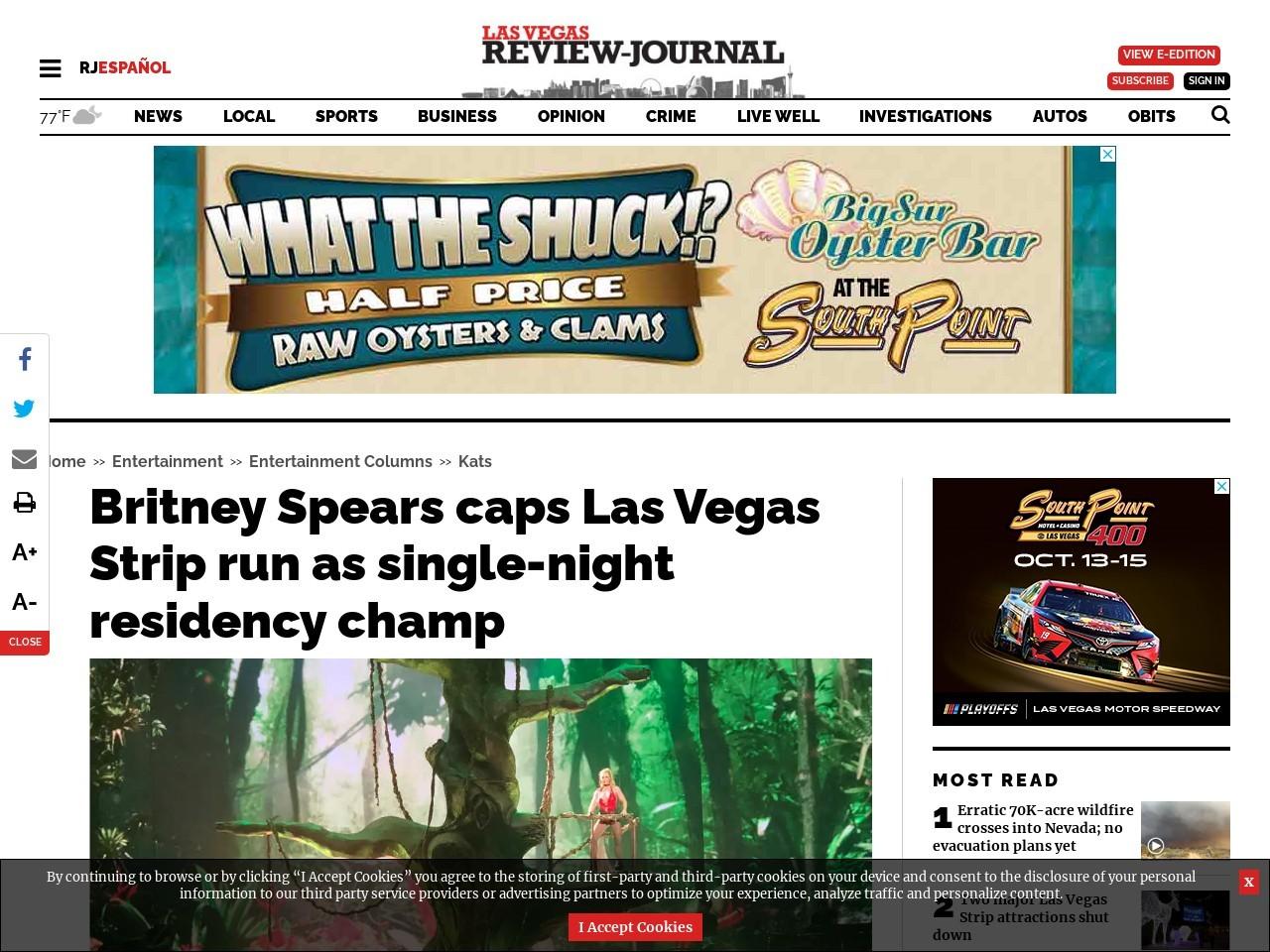 Britney Spears caps Las Vegas Strip run as single-night residency champ