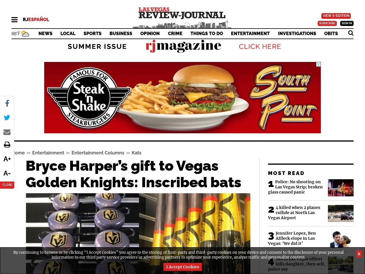 Bryce Harper's gift to Vegas Golden Knights: Inscribed bats