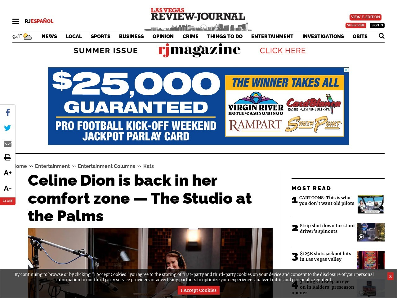 Celine Dion is back in her comfort zone — The Studio at the Palms