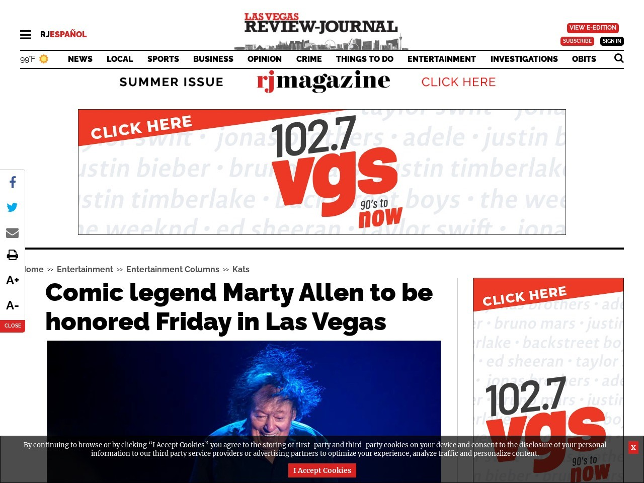 Comic legend Marty Allen to be honored Friday in Las Vegas