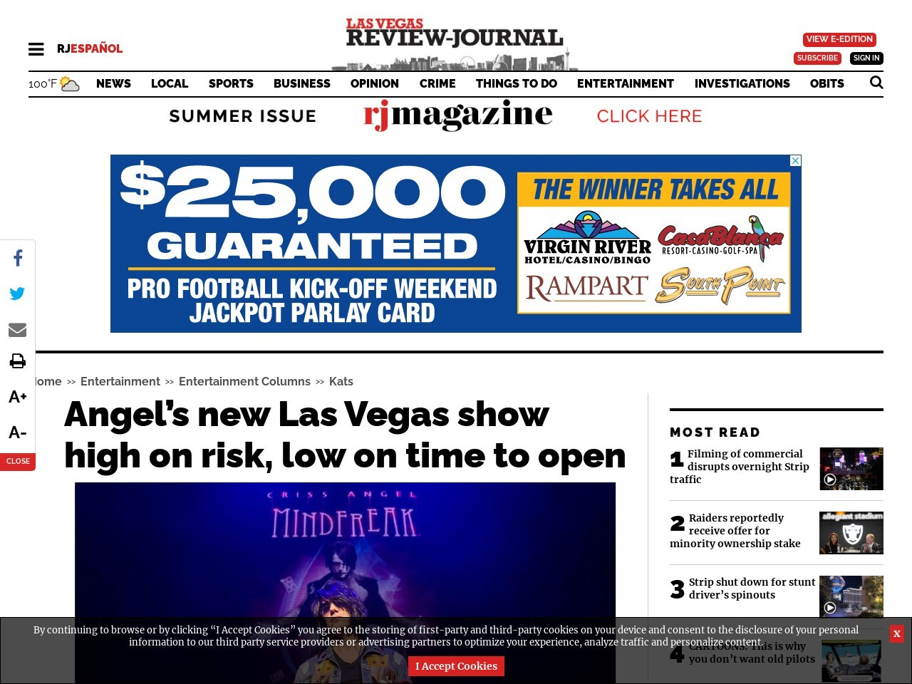 Criss Angel's new Las Vegas show is high on risk, low on time to open