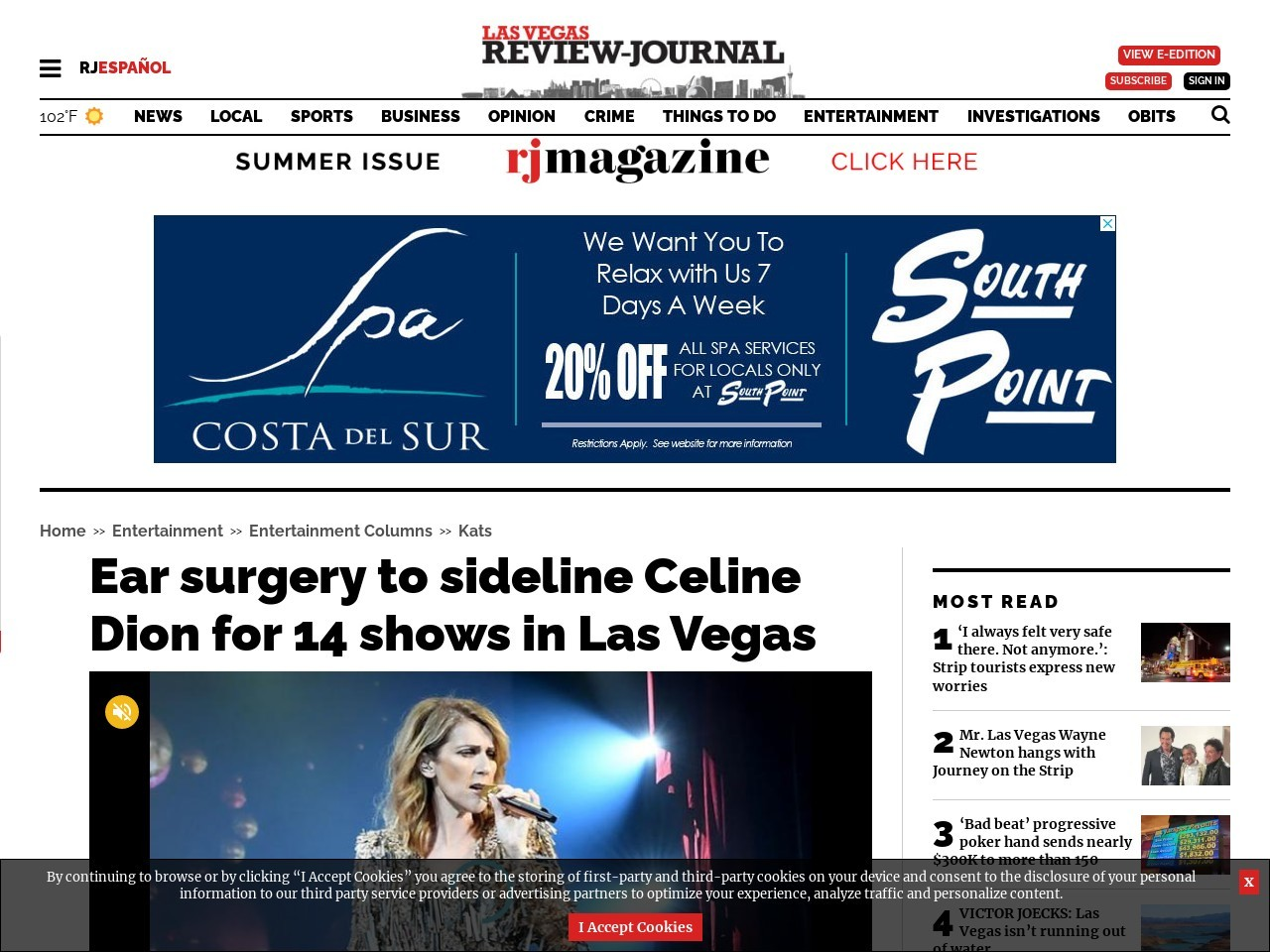 Ear surgery to sideline Celine Dion for 14 shows in Las Vegas