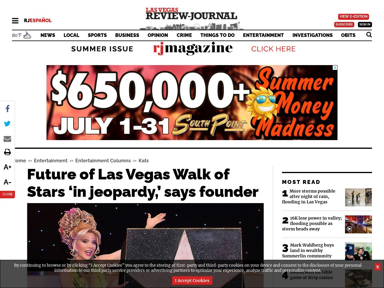 Future of Las Vegas Walk of Stars 'in jeopardy,' says founder