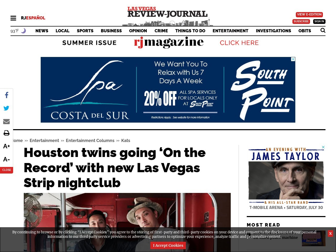Houston twins going 'On the Record' with new Las Vegas Strip nightclub