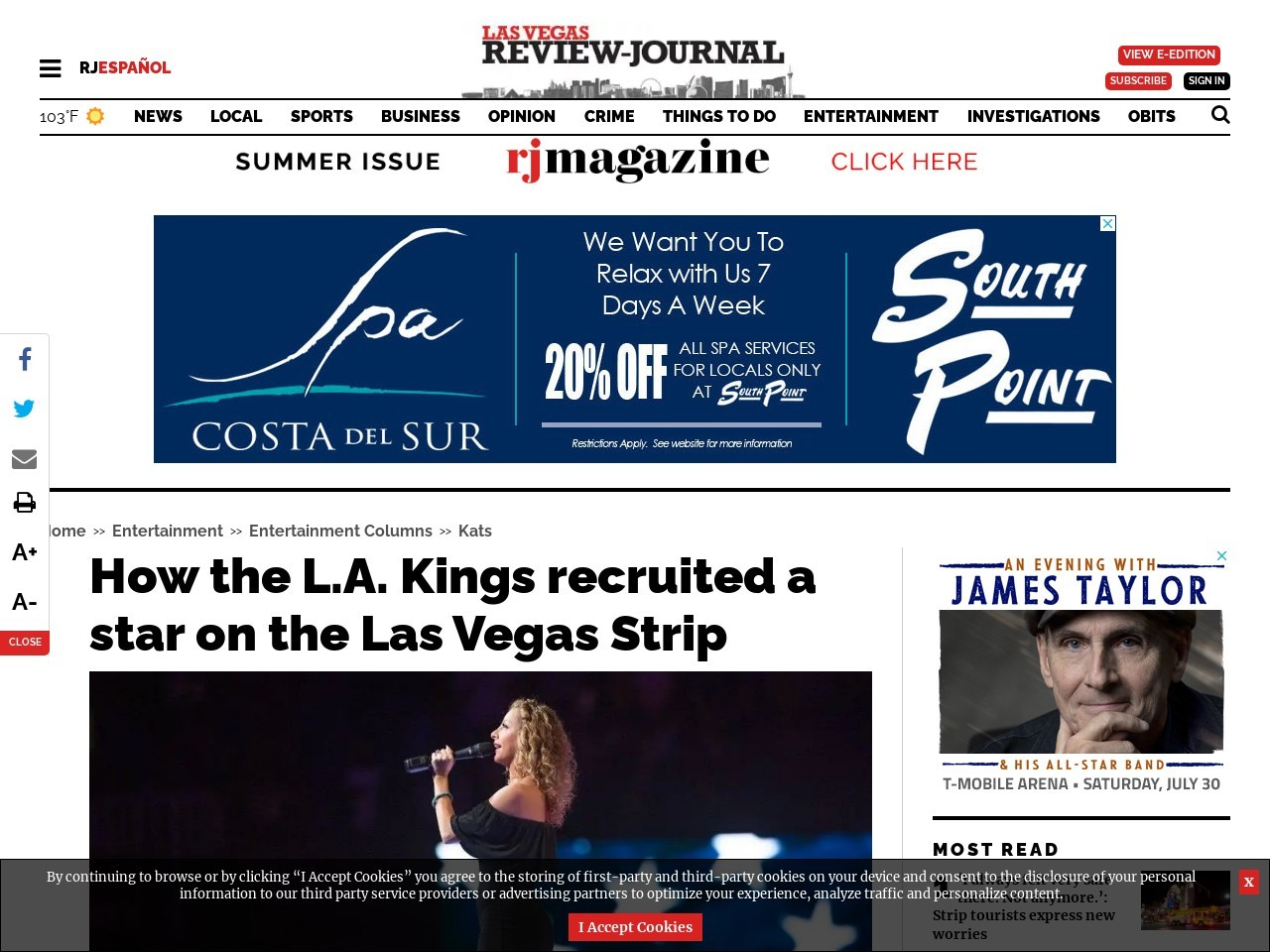 How the L.A. Kings recruited a star on the Las Vegas Strip