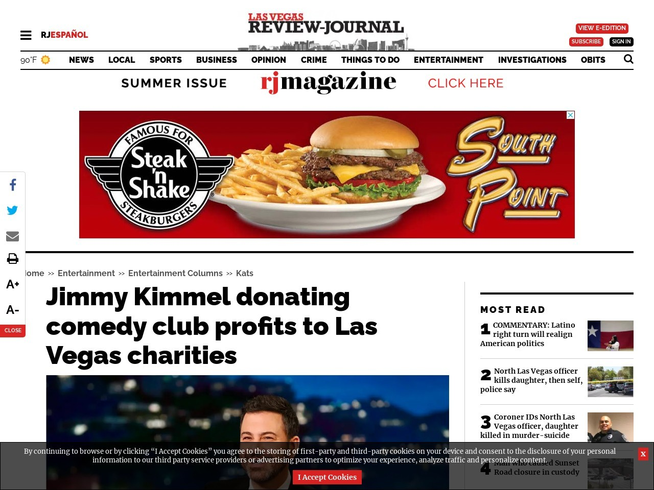 Jimmy Kimmel donating comedy club profits to Las Vegas charities