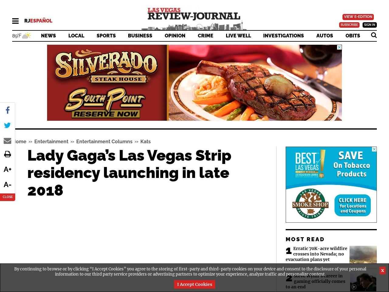 Lady Gaga's Las Vegas Strip residency launching in late-2018
