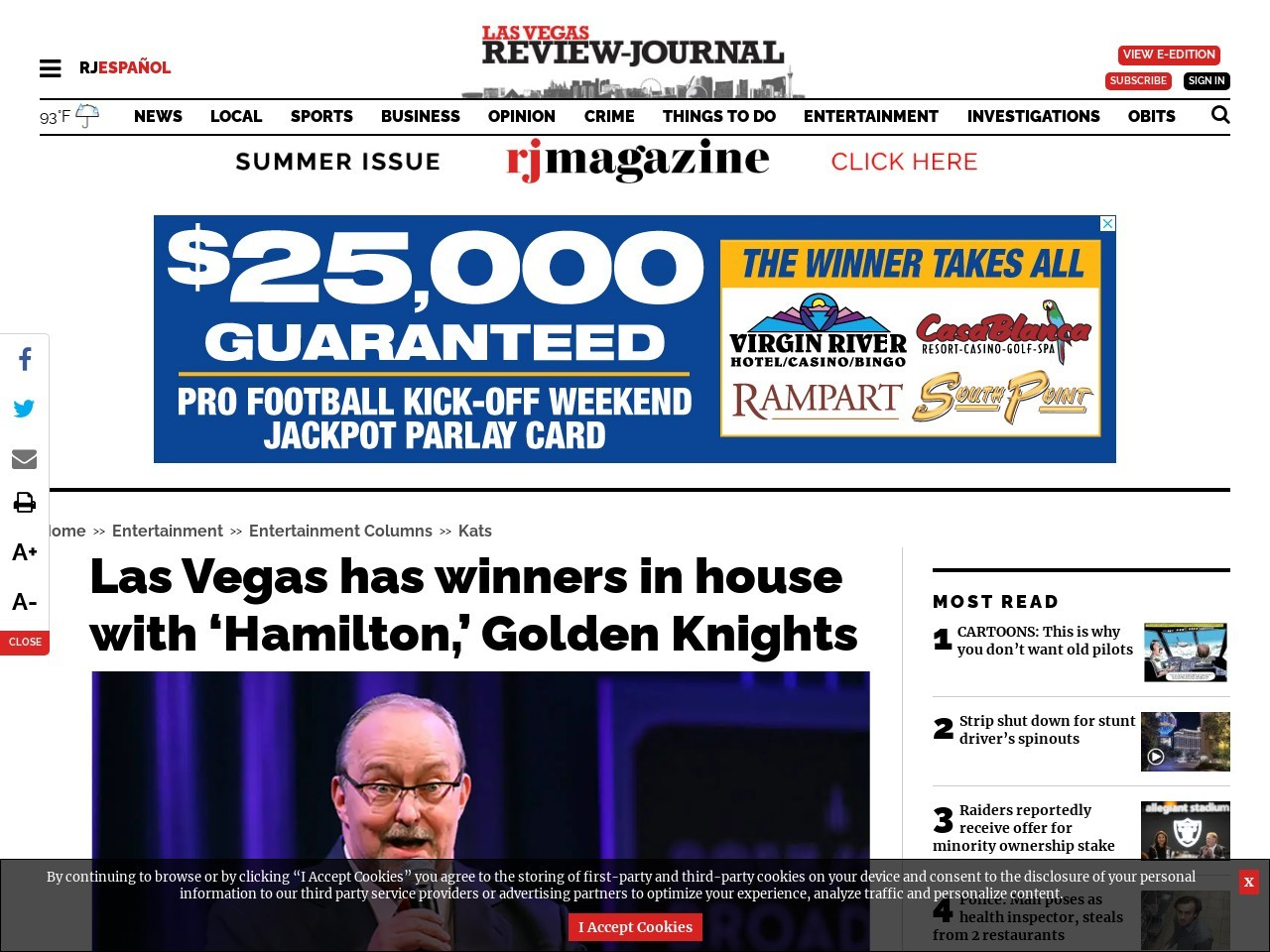Las Vegas has winners in house with 'Hamilton,' Golden Knights