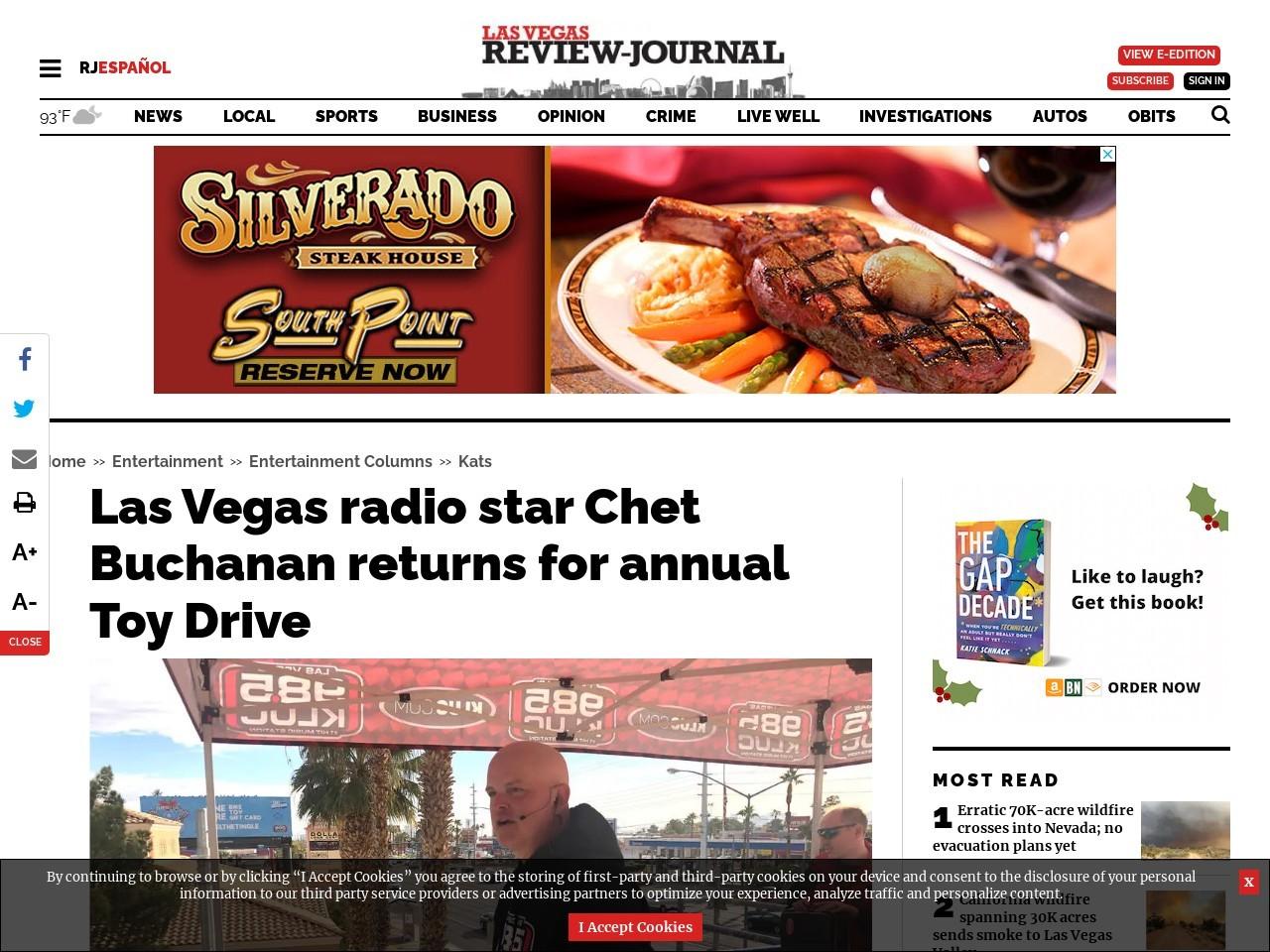 Las Vegas radio star Chet Buchanan returns for annual Toy Drive