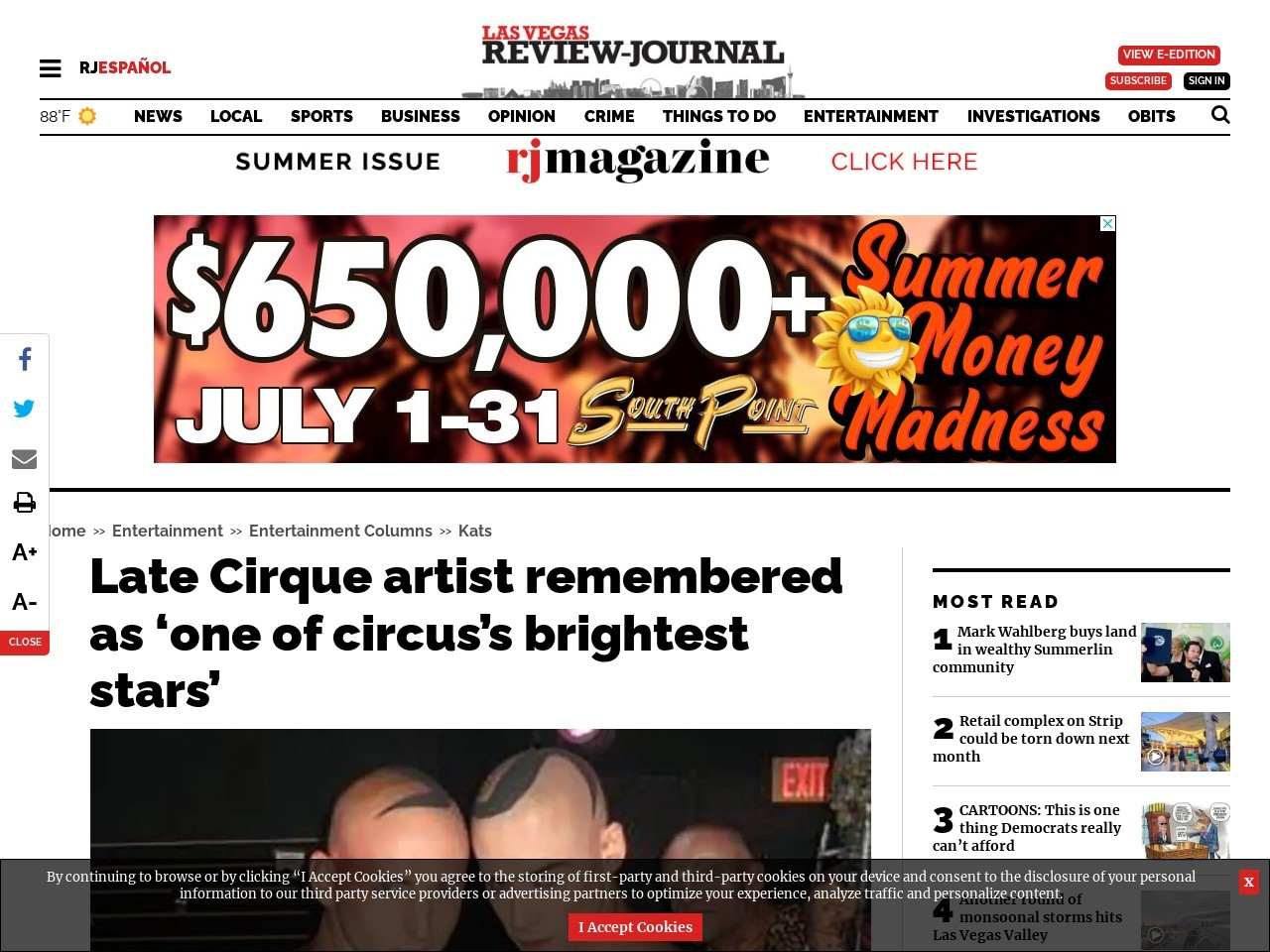 Late Cirque artist remembered as 'one of circus's brightest stars'