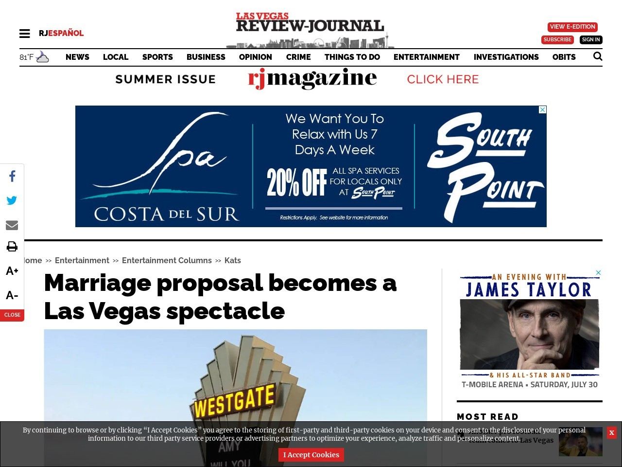 Marriage proposal becomes a Las Vegas spectacle