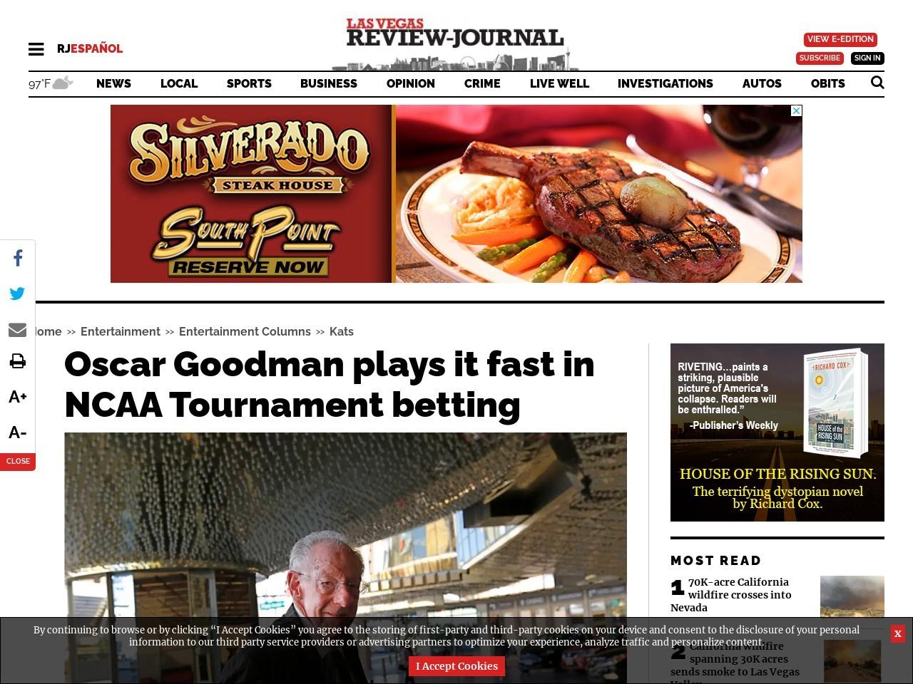 Oscar Goodman plays it fast in NCAA Tournament betting
