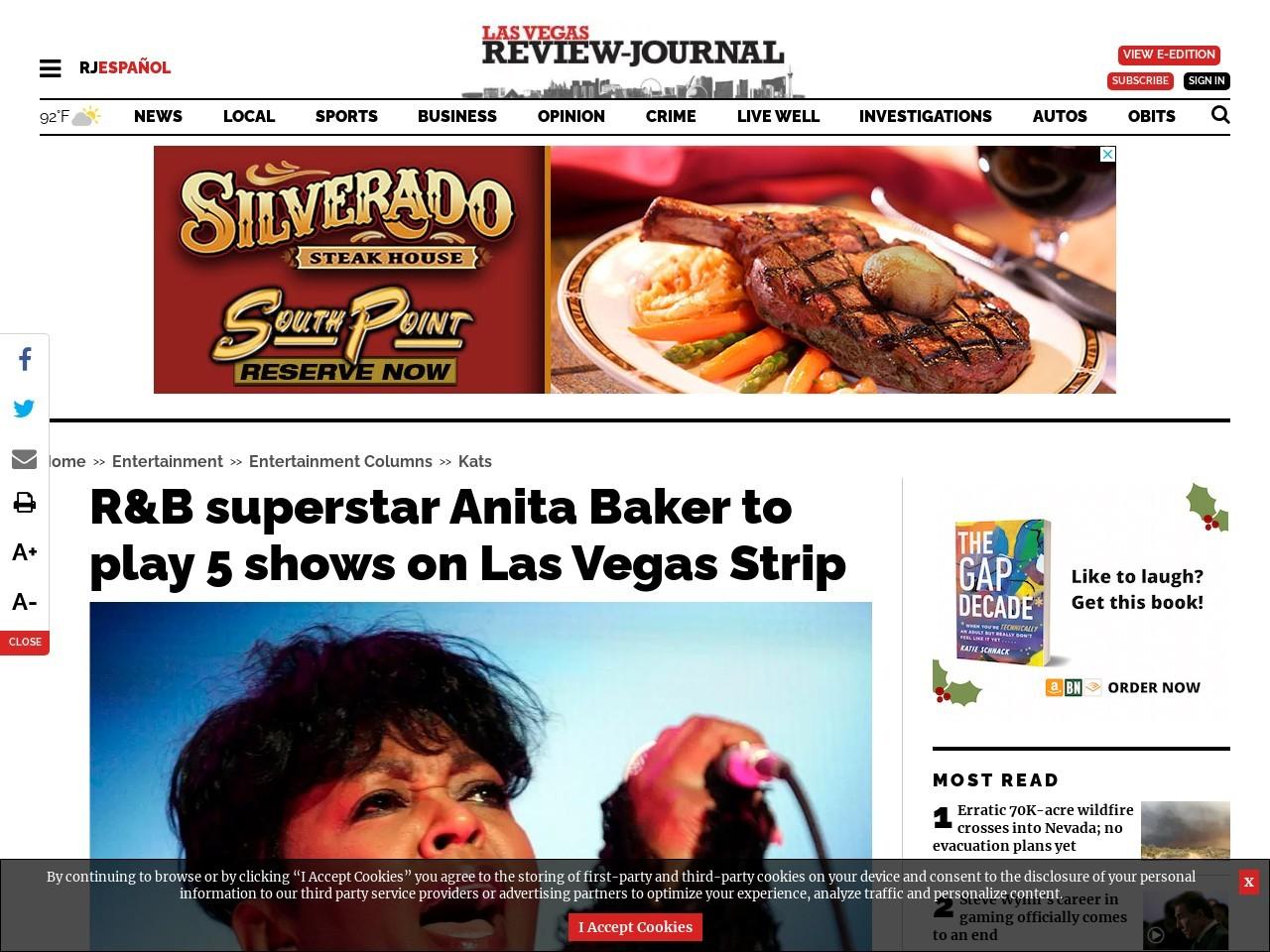 R&B superstar Anita Baker to play 5 shows on Las Vegas Strip