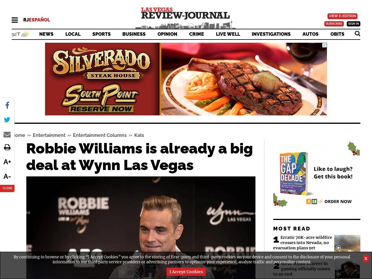 Robbie Williams is already a big … deal at Wynn Las Vegas