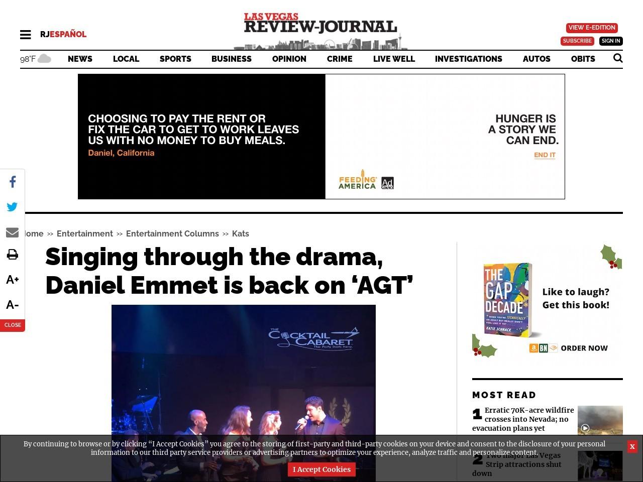 Singing through the drama, Daniel Emmet is back on 'AGT'