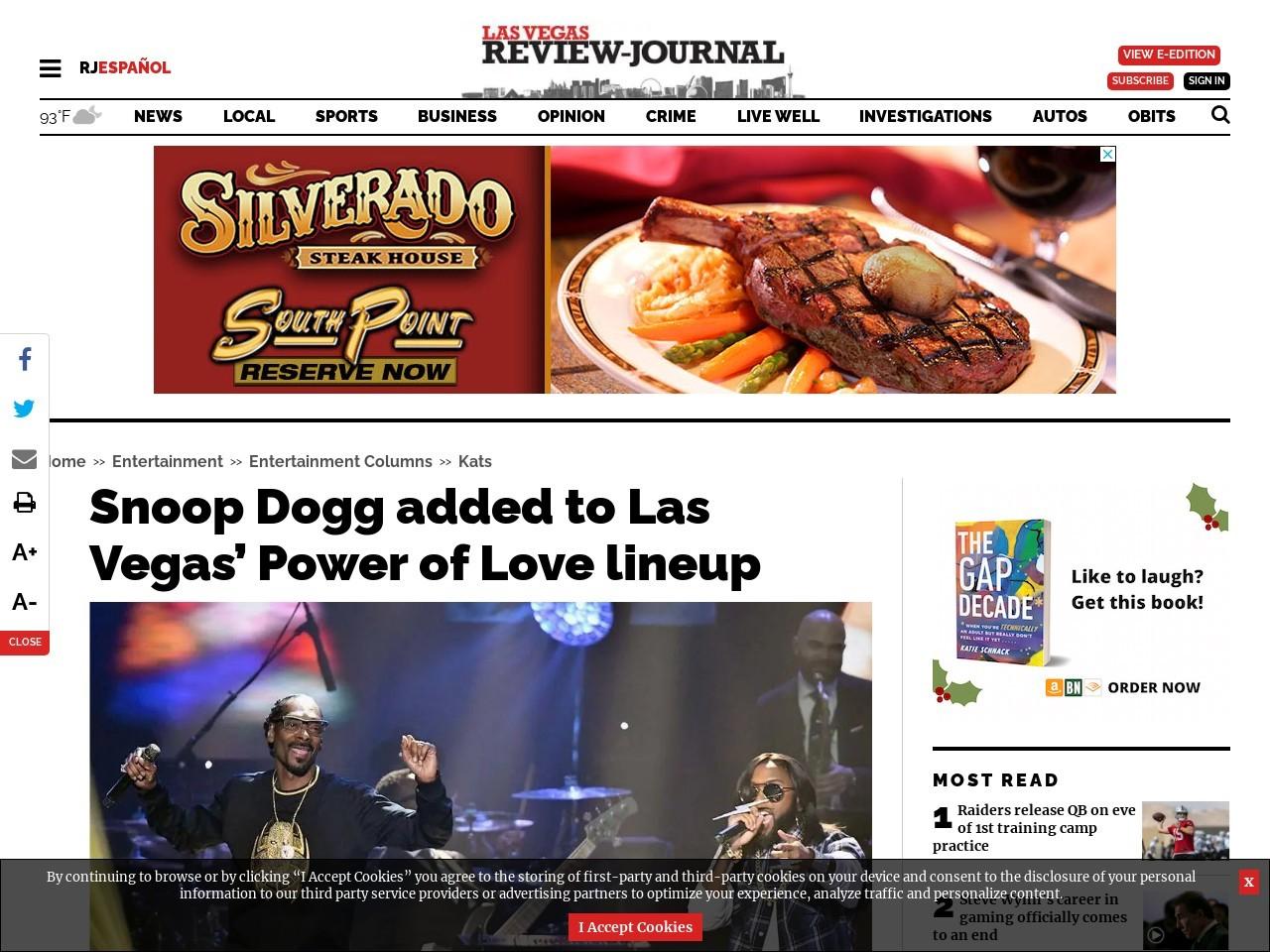 Snoop Dogg added to Las Vegas' Power of Love lineup