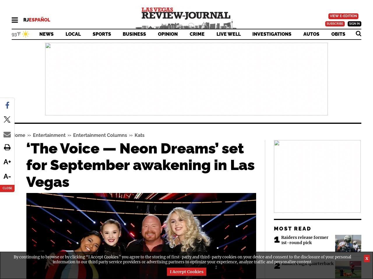 'The Voice — Neon Dreams' set for September awakening in Las Vegas