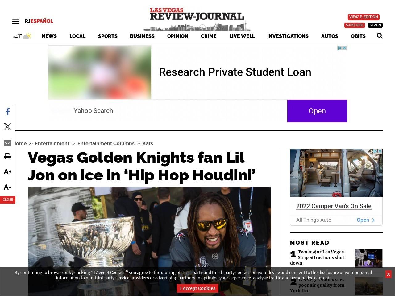 Vegas Golden Knights fan Lil Jon on ice in 'Hip Hop Houdini'
