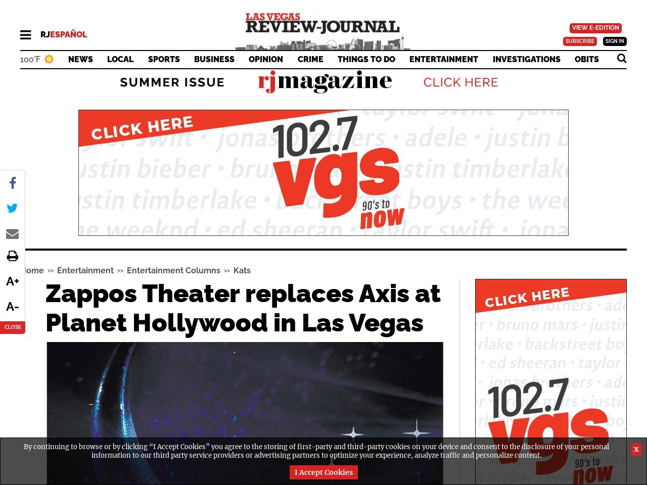 Zappos Theater replaces Axis at Planet Hollywood in Las Vegas