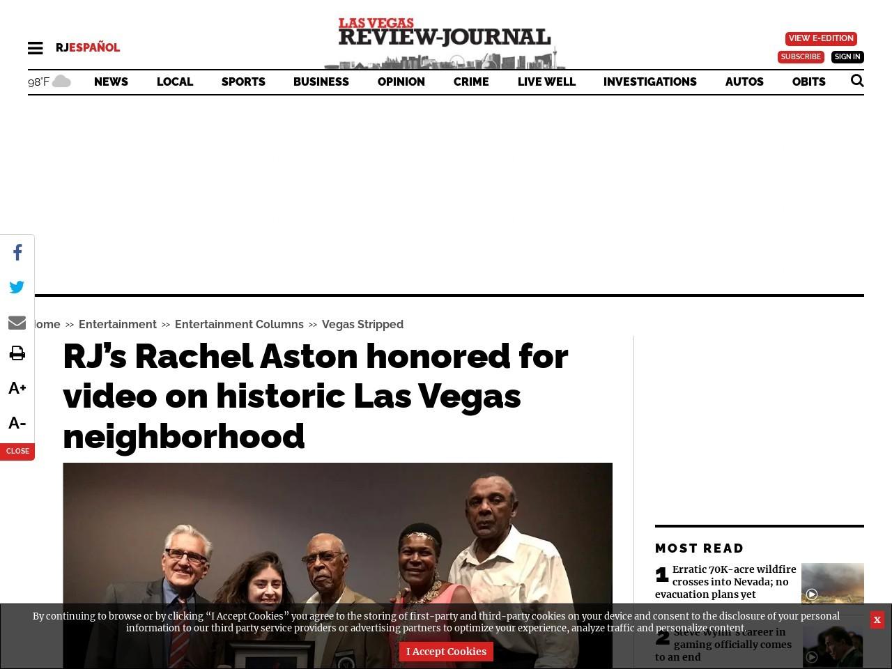 RJ's Rachel Aston honored for video on historic Las Vegas neighborhood