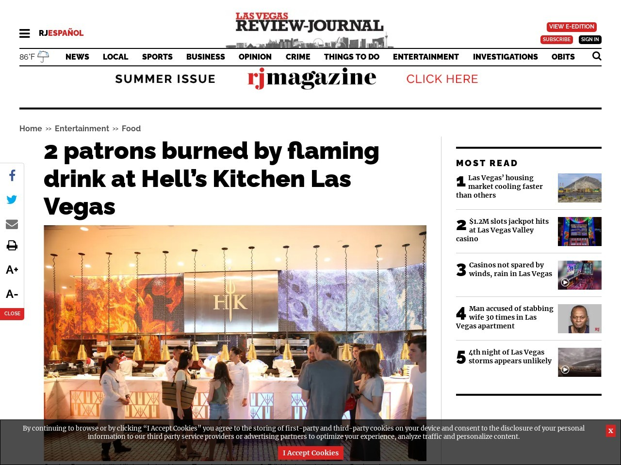 2 patrons burned by flaming drink at Hell's Kitchen Las Vegas