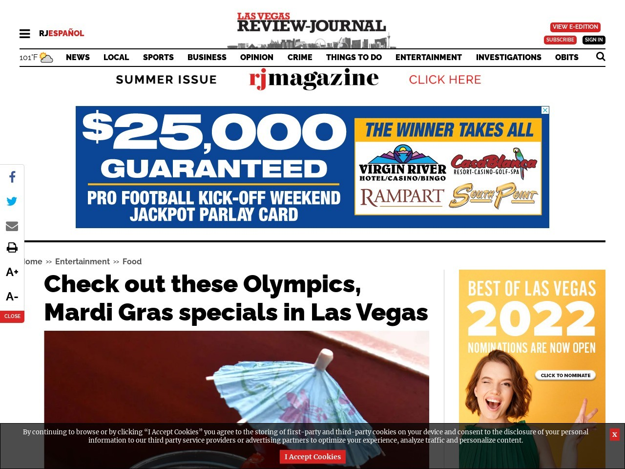 Check out these Olympics, Mardi Gras specials in Las Vegas