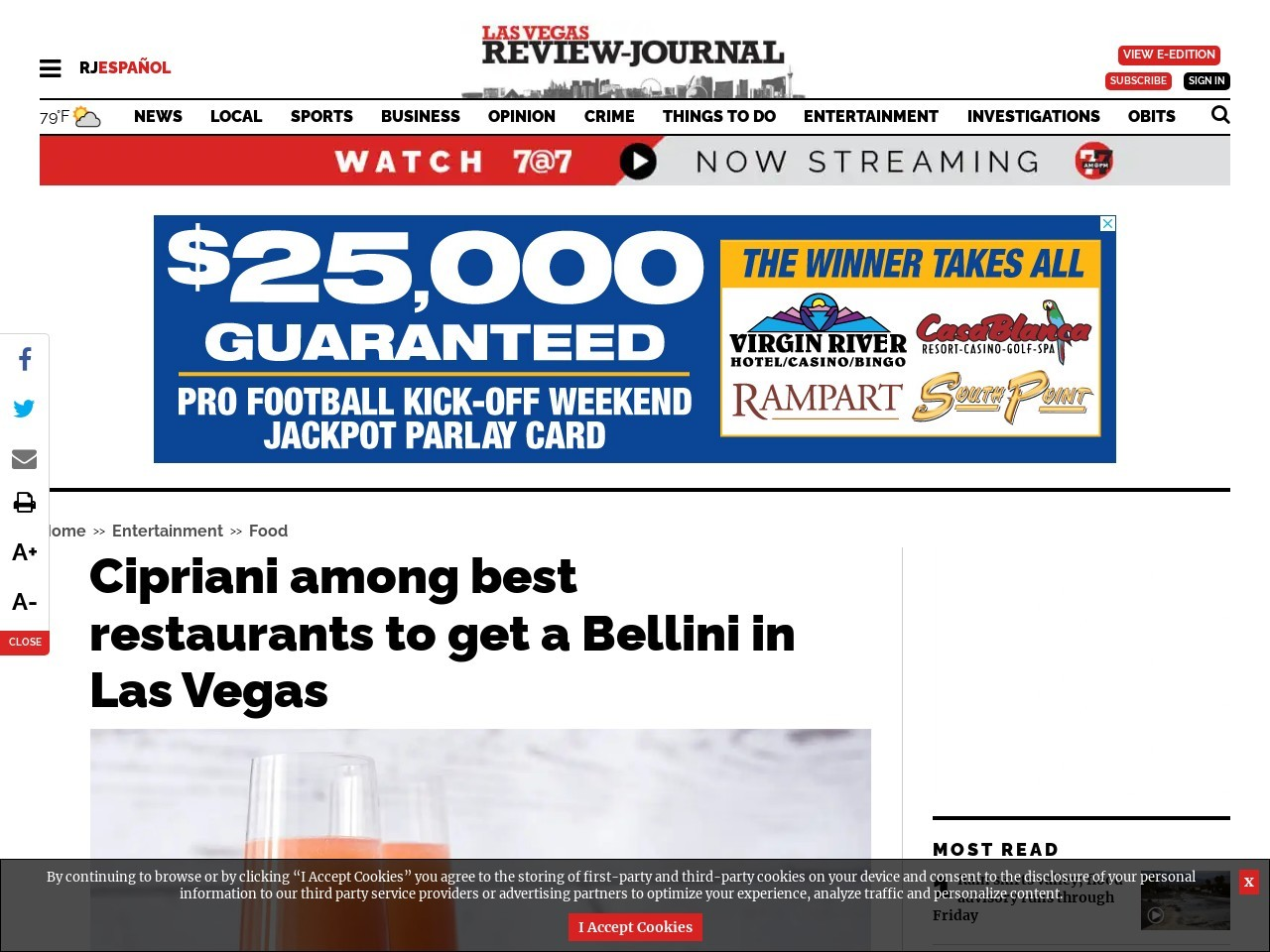 Cipriani among best restaurants to get a Bellini in Las Vegas