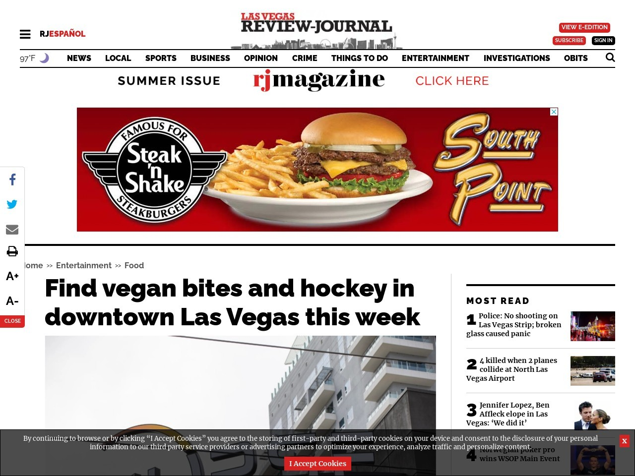 Find vegan bites and hockey in downtown Las Vegas this week