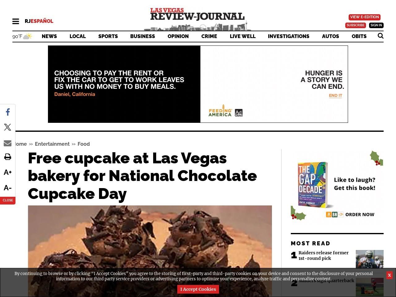 Free cupcake at Las Vegas bakery for National Chocolate Cupcake Day