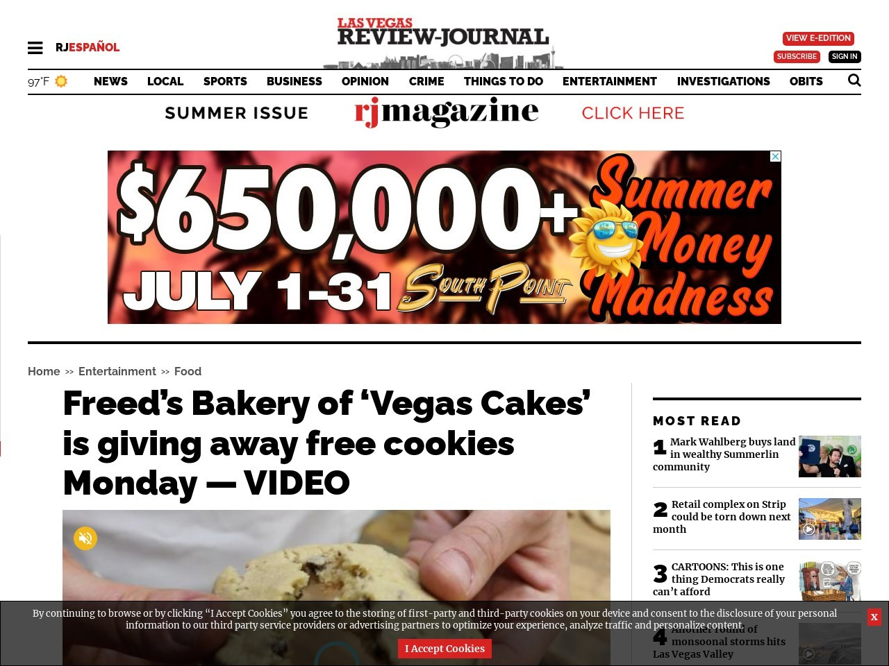Freed's Bakery of 'Vegas Cakes' is giving away free cookies Monday — VIDEO