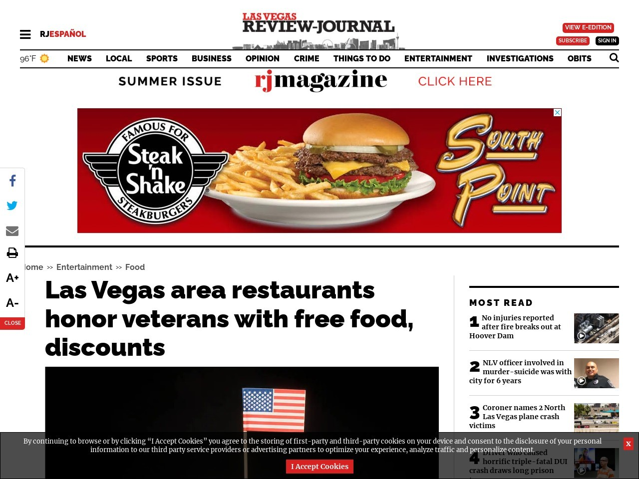 Las Vegas area restaurants honor veterans with free food, discounts
