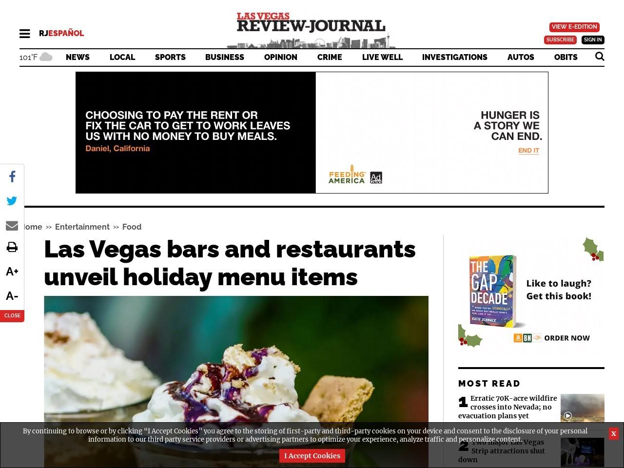 Las Vegas bars and restaurants unveil holiday menu items