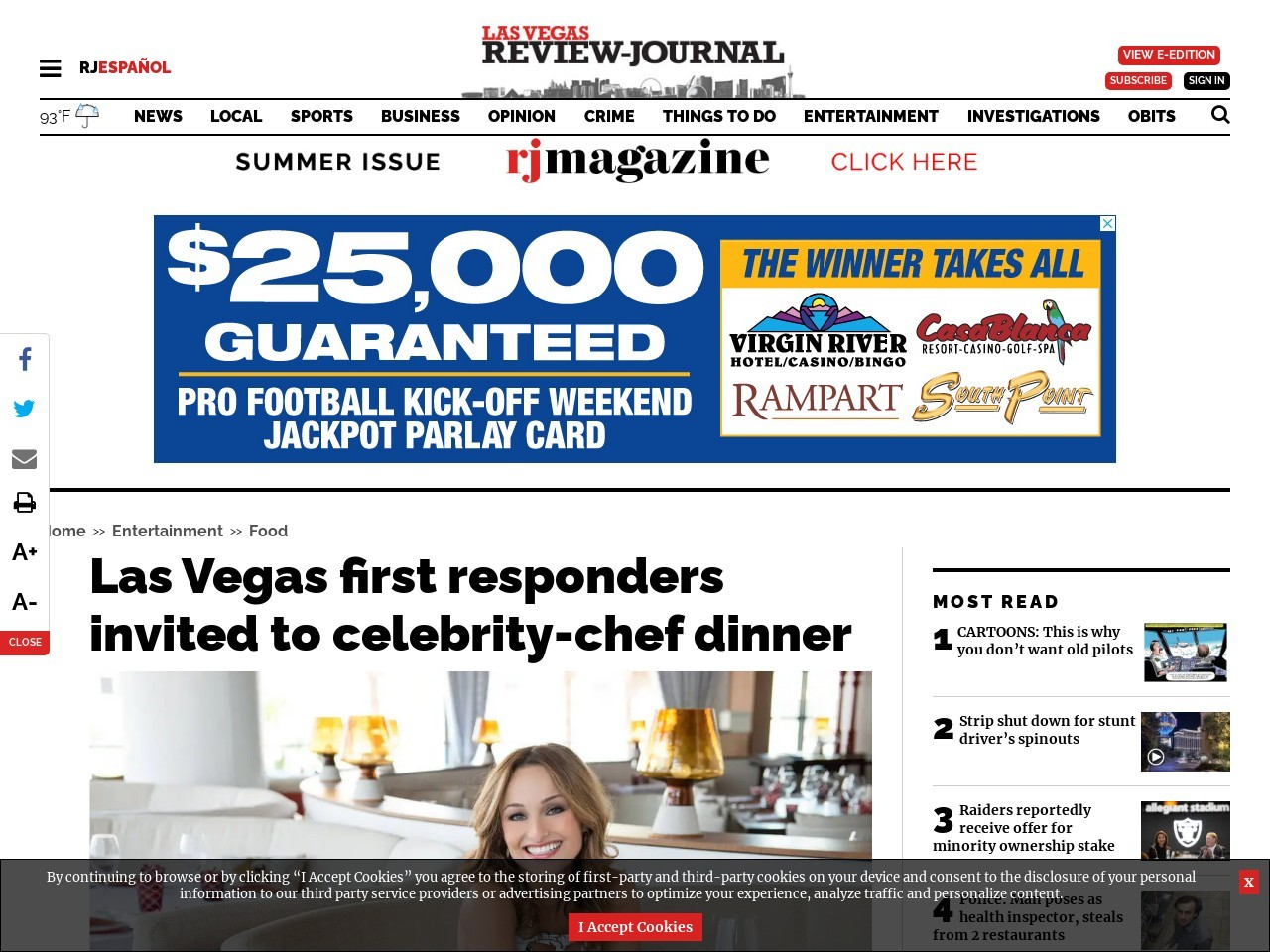 Las Vegas first responders invited to celebrity-chef dinner
