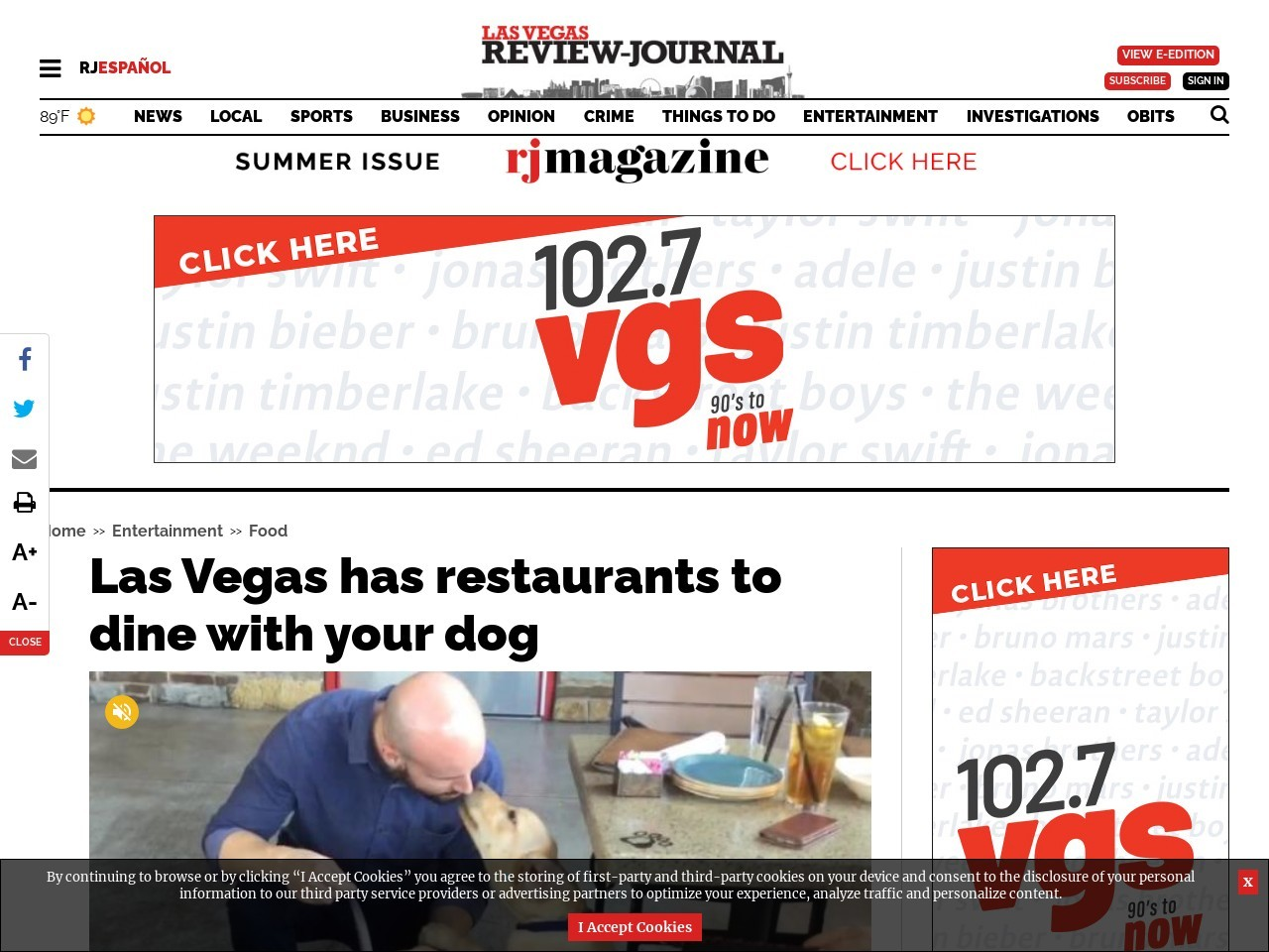 Las Vegas has restaurants to dine with your dog