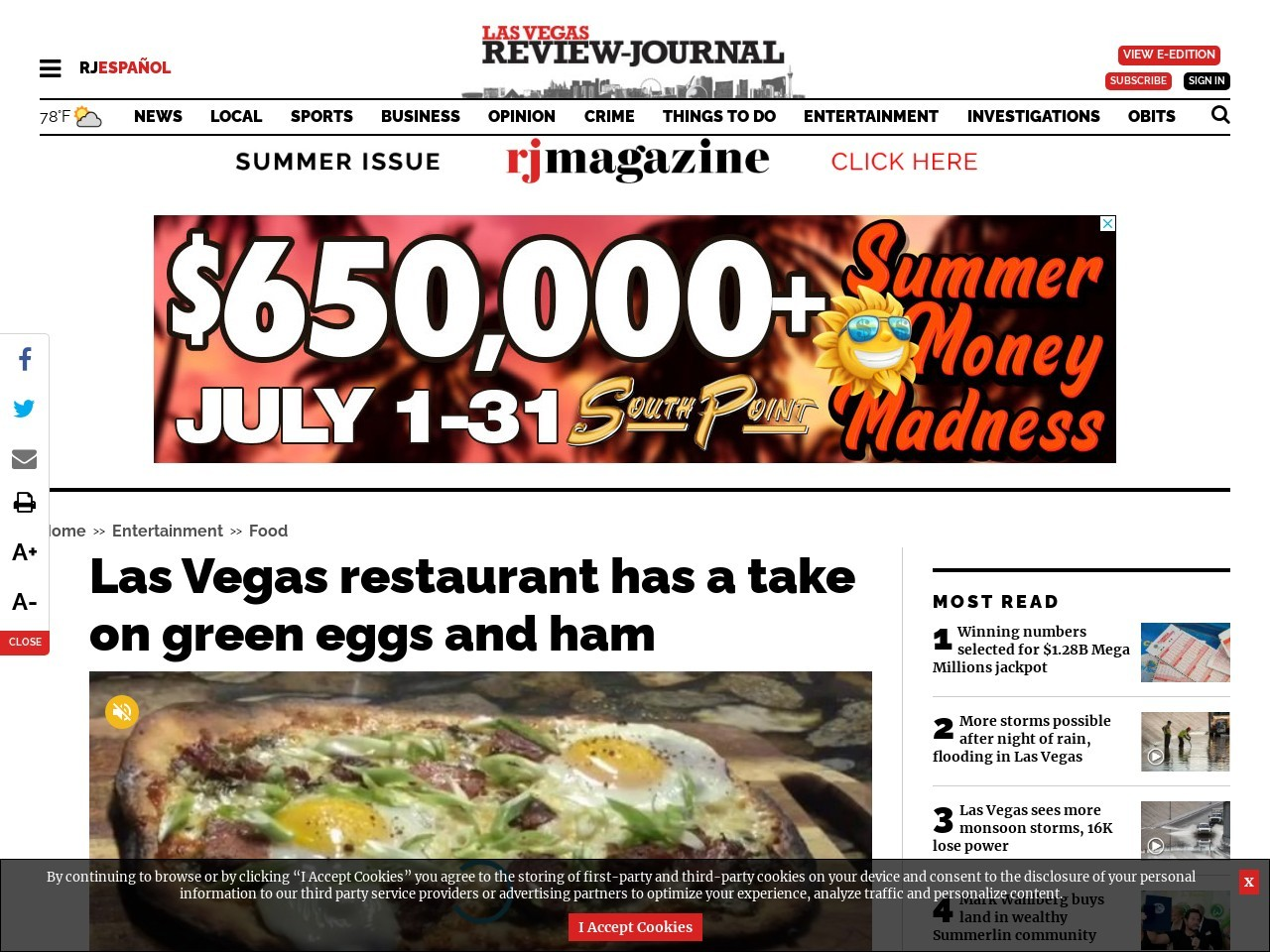 Las Vegas restaurant has a take on green eggs and ham