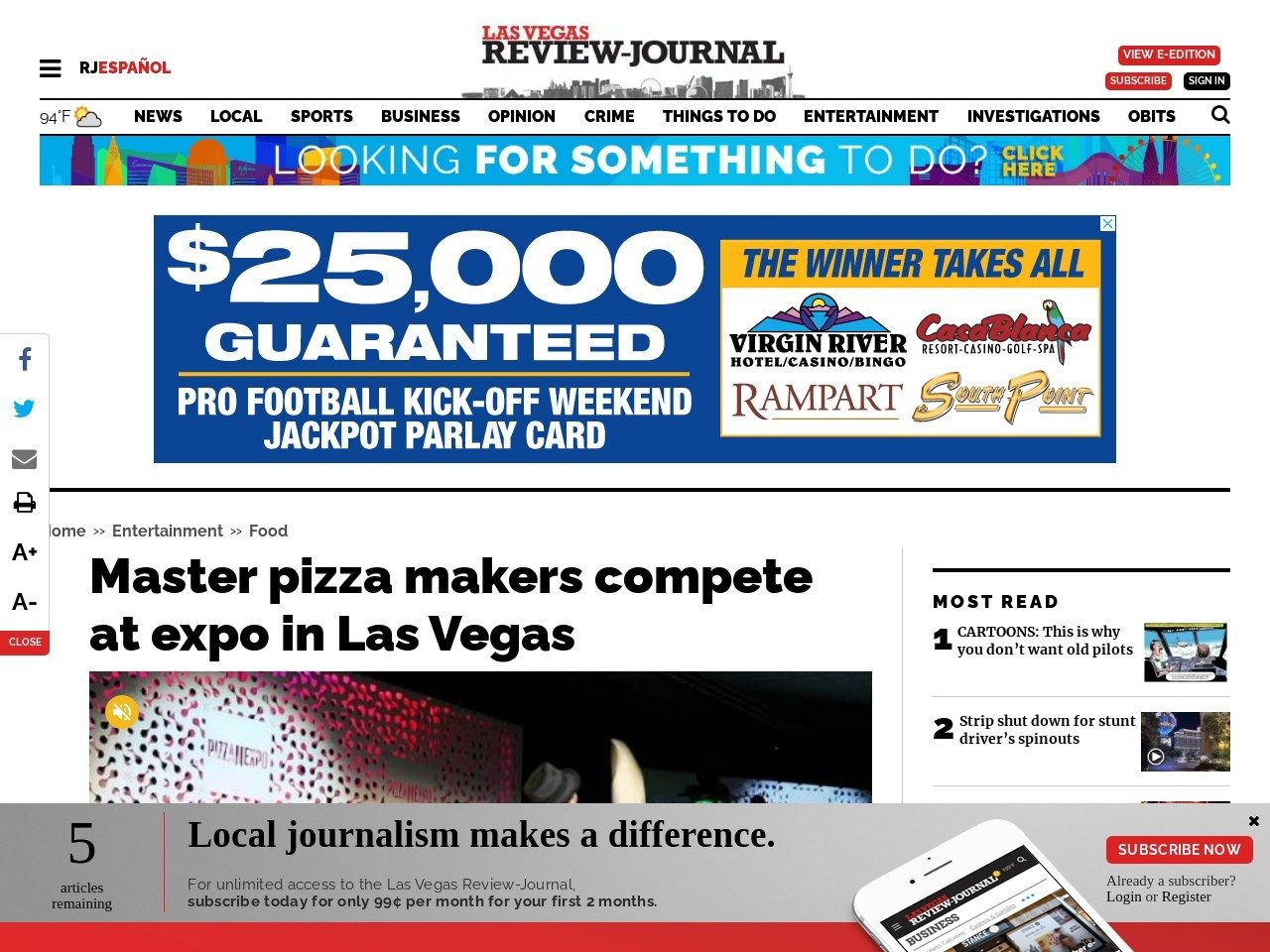 Master pizza makers compete at expo in Las Vegas