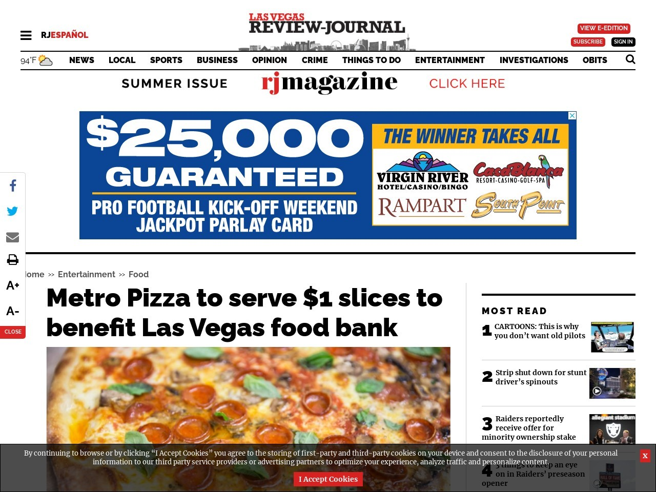 Metro Pizza to serve $1 slices to benefit Las Vegas food bank