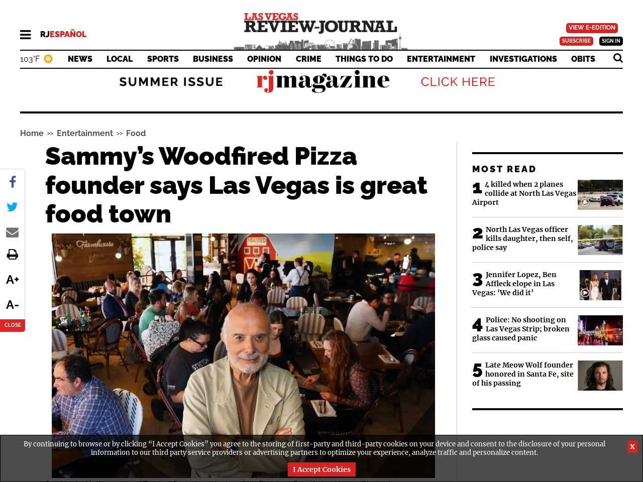 Sammy's Woodfired Pizza founder says Las Vegas is great food town