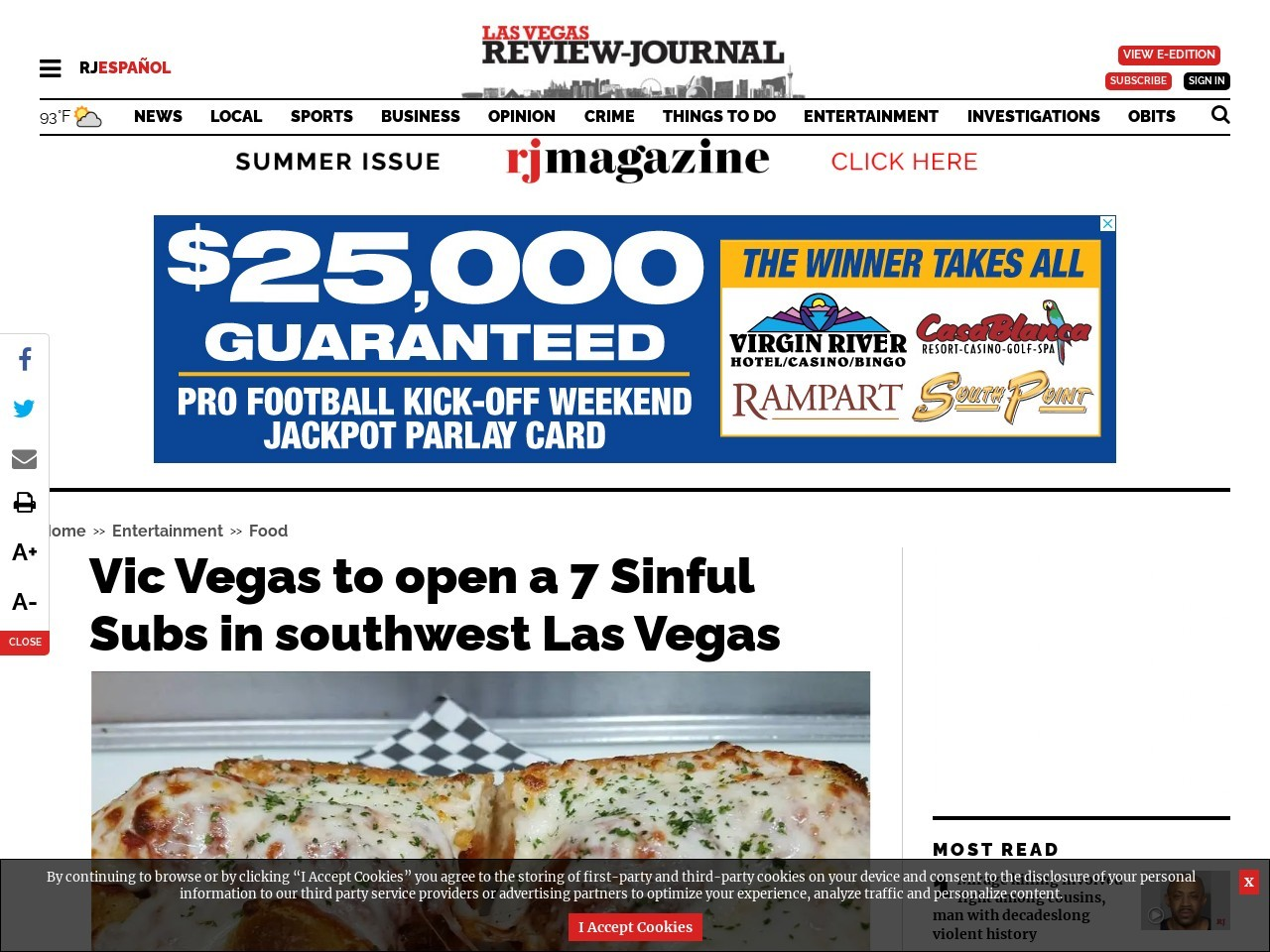 Vic Vegas to open a 7 Sinful Subs in southwest Las Vegas
