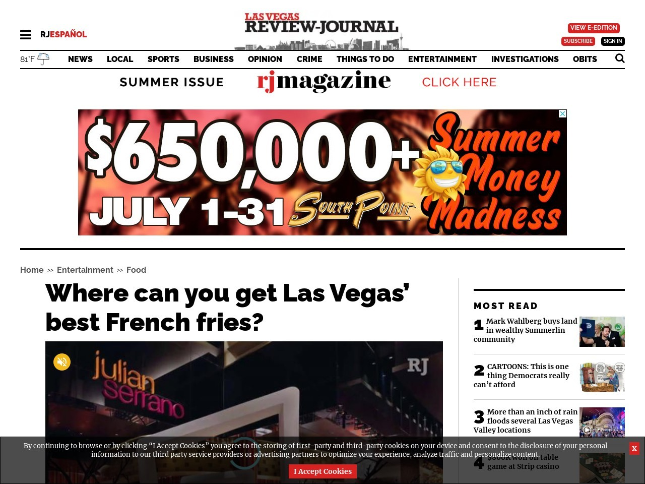 Where can you get Las Vegas' best French fries?