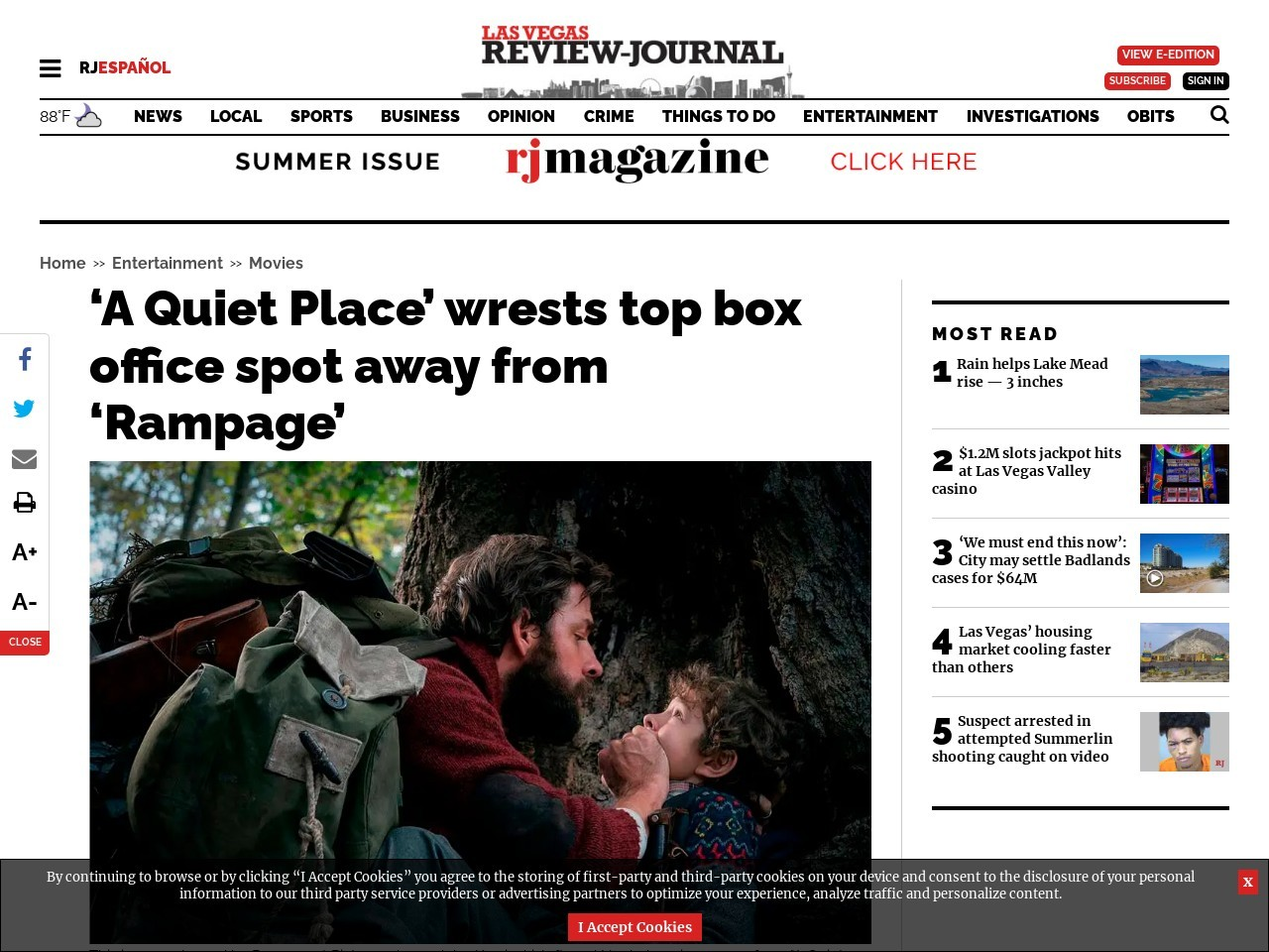'A Quiet Place' wrests top box office spot away from 'Rampage'