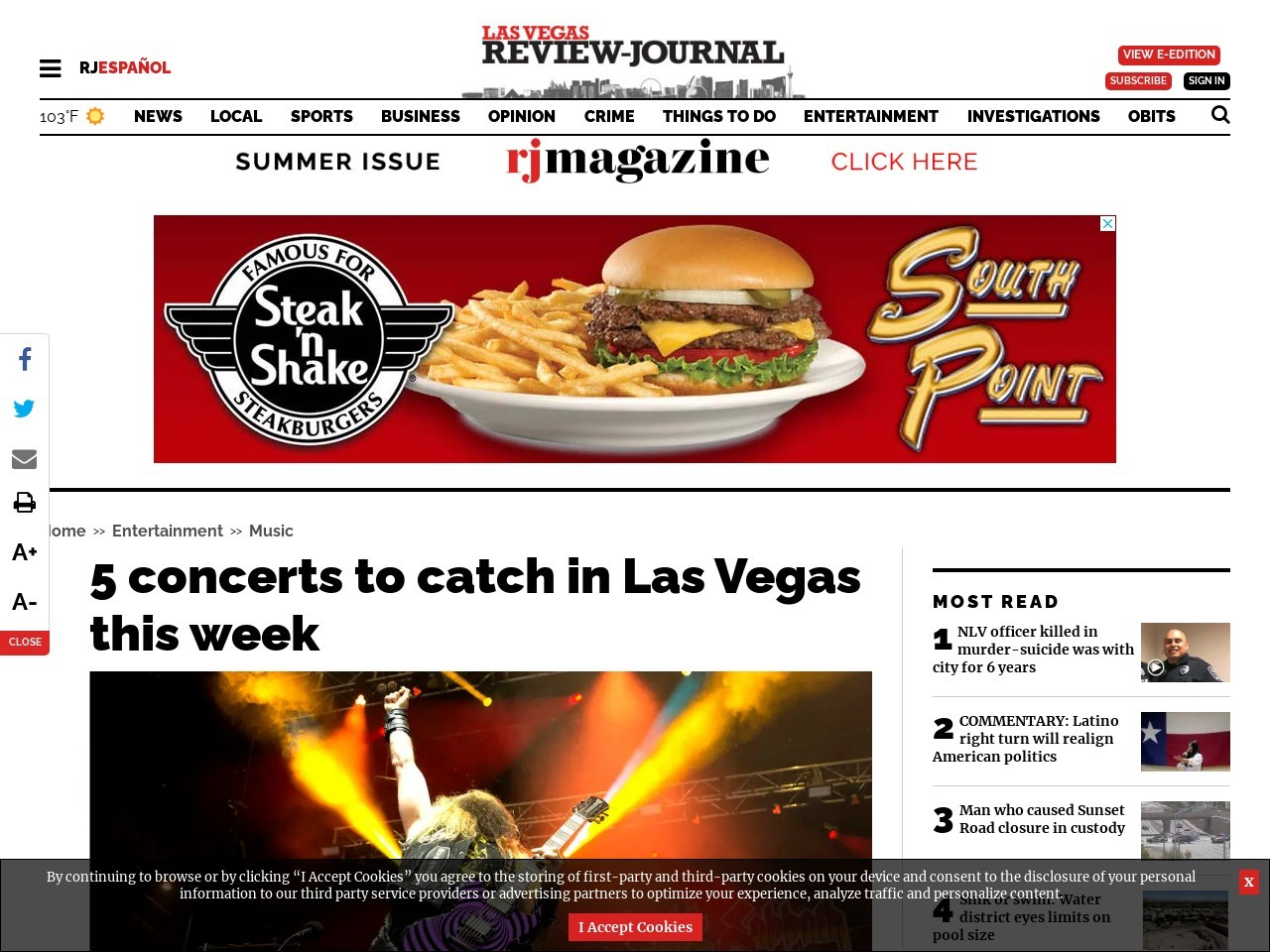 5 concerts to catch in Las Vegas this week