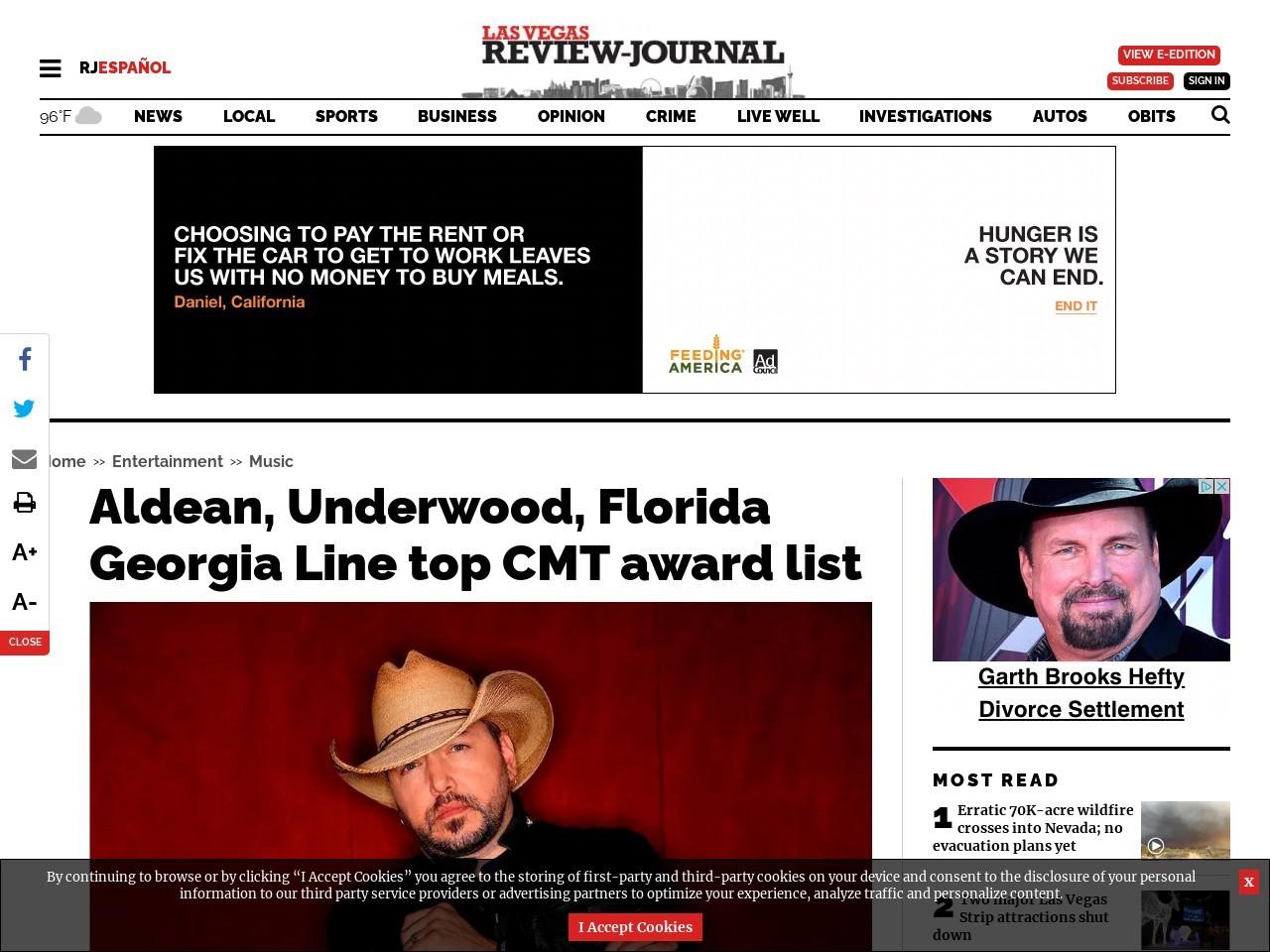 Aldean, Underwood, Florida Georgia Line top CMT award list