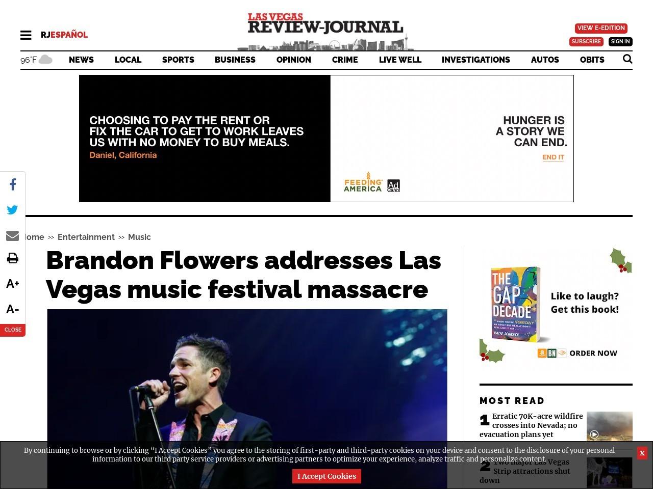 Brandon Flowers addresses Las Vegas music festival massacre