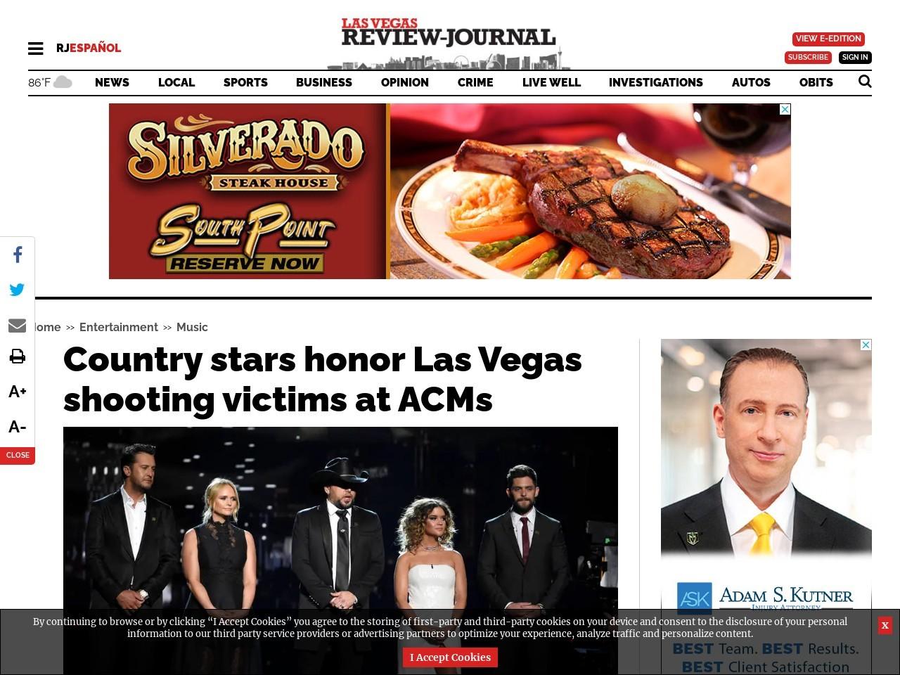 Country stars honor Las Vegas shooting victims at ACMs