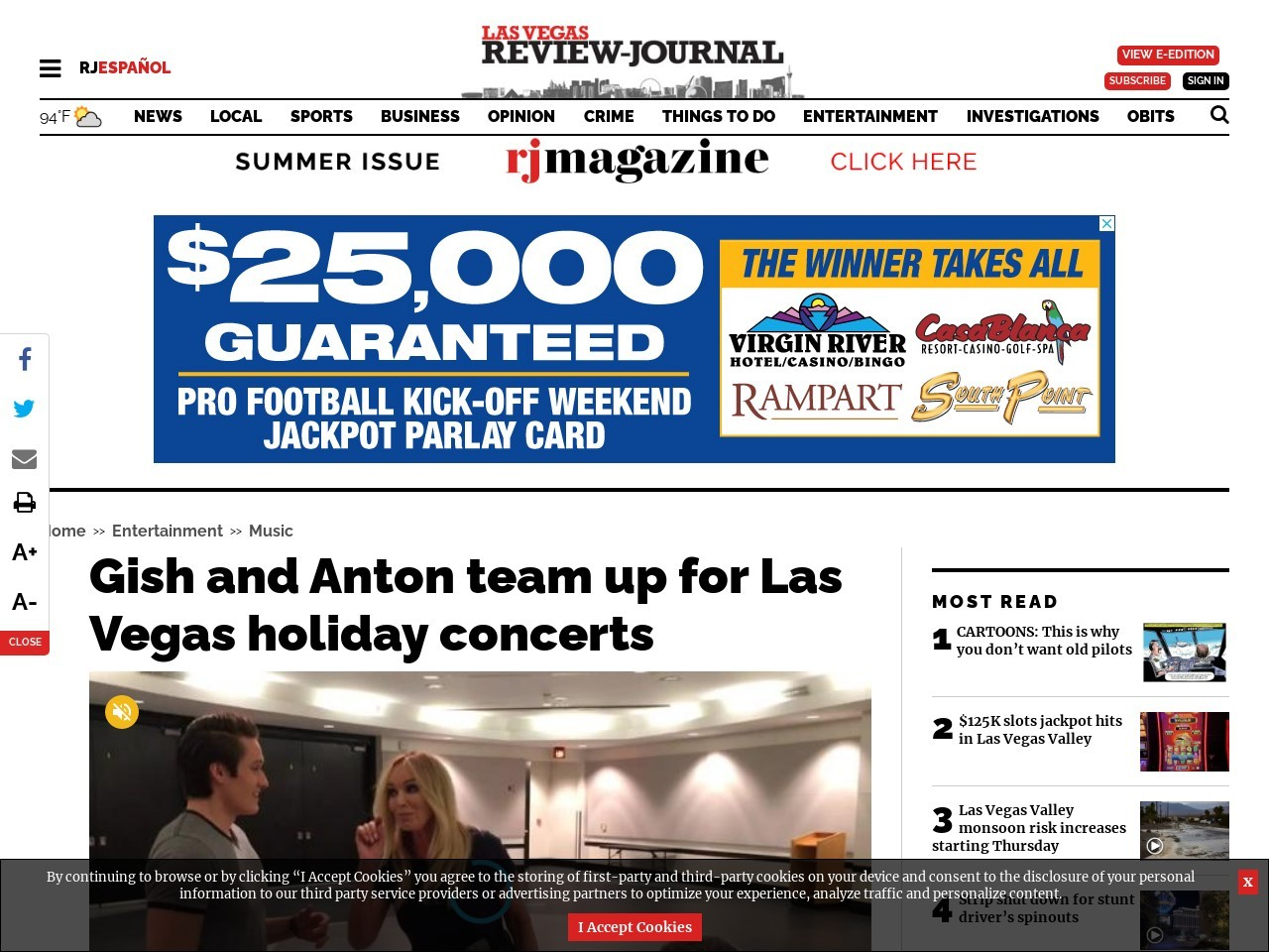James D. Gish and Susan Anton team up for Las Vegas holiday concerts