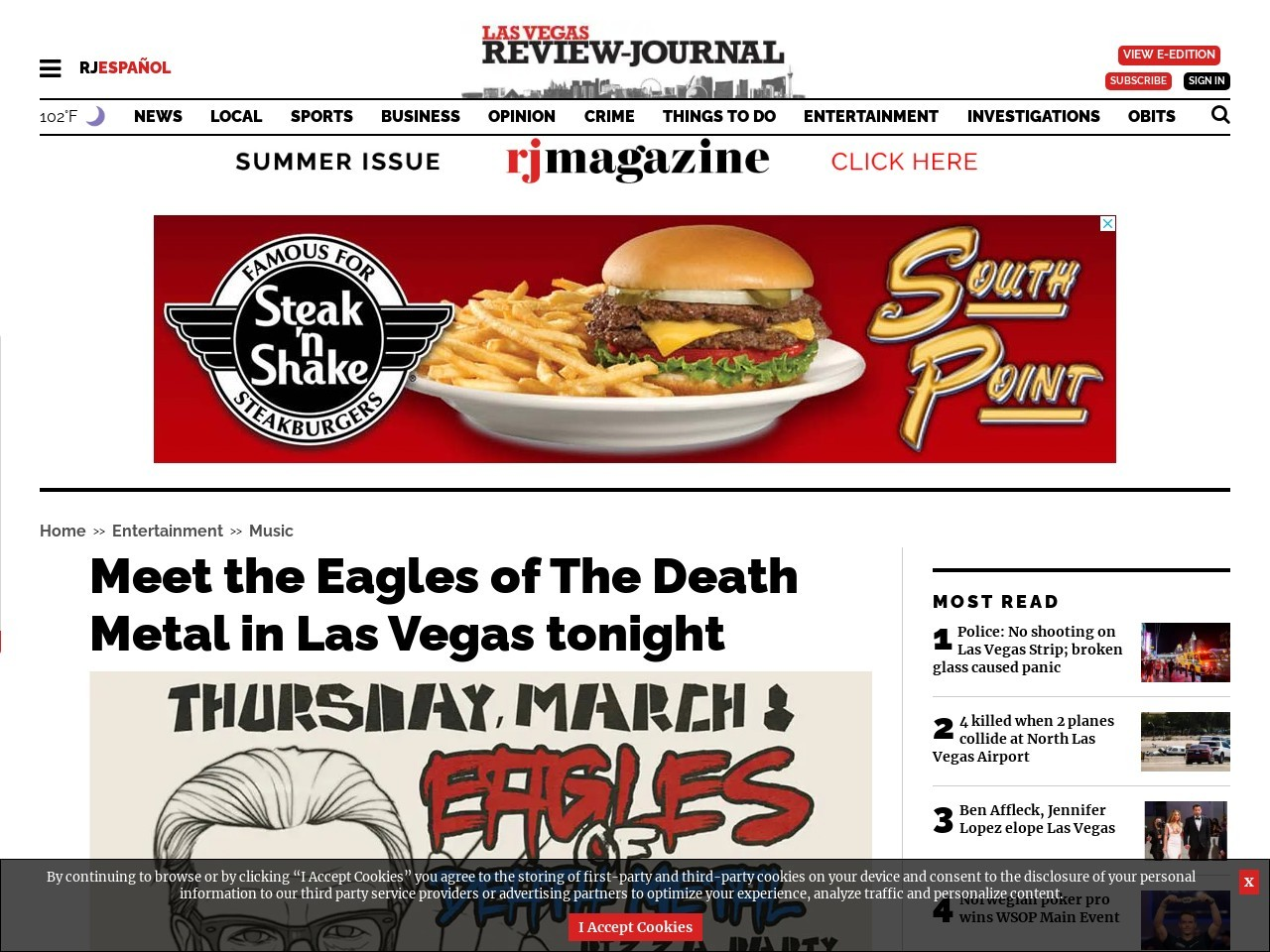 Meet the Eagles of The Death Metal in Las Vegas tonight