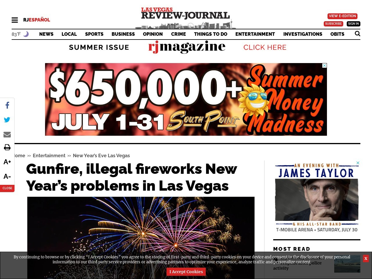 Gunfire, illegal fireworks New Year's problems in Las Vegas
